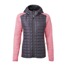 Ladies Knitted Hybrid Jacket pink-melange/anthracite-melange